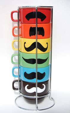 Multi Color Mustache Coffee Mugs - set of 6 stackable mugs and chrome holder. $33.00, via Etsy.
