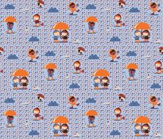 A happy rainy day! fabric by bora for sale on Spoonflower - custom fabric, wallpaper and wall decals
