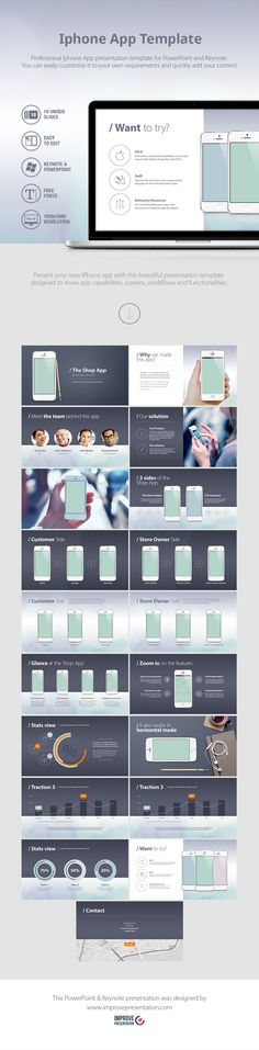 Present your new iPhone app with this beautiful presentation template designed specifically to show app capabilities, screens, workflows and functionalities.  LINK -> https://www.improvepresentation.com/presentation-templates/iphone-app-presentation-template