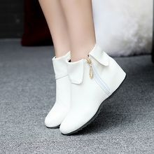 Female winter boots large size 12 zapatos de mujer rinding botas with fur round toe height increasing heel wedge boot for women Cute Ankle Boots, Wedge Ankle Boots, Shoe Boots, Heeled Boots, Ankle Booties, Wedge Bootie, Bootie Boots, Fashion Boots, Sneakers Fashion