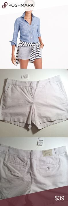 "J. CREW🔹POWDERED OXFORD🔹CITY FIT🔹PALE GRAY 5"" J. Crew Factory light gray, City Fit shorts, sit above hip. Washed for softness. Size 14, waist measures 19"" laying flat, inseam 5"". Beautiful color, finely woven lightweight cotton. First photo is professional, not actual. SUGGESTED USER, FAST SHIPPER J. Crew Shorts"