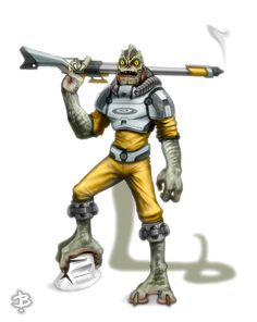 STAR WARS Character Redesign Art for Bossk's reinvention for the market he serves, new firepower (note trigger guard removed and enhanced silencer), new armour and wardrobe following important weight loss for increased agility and stamina, followed with pedicure and digicure.
