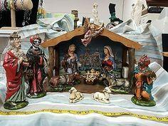 vintage large musical nativity set christmas paper mache japan hand painted holiday u0026