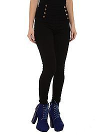 HOTTOPIC.COM - Cello Black Sailor High-Waisted Skinny Jeans