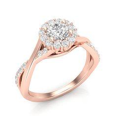 Rose Gold Engagement Ring Twist Shank Halo Ring .42ct Diamonds