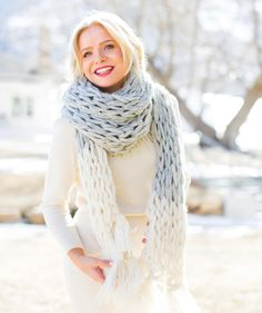 Color Block Scarf | Arm Knitting Patterns from Knitting Without Needles by Anne Weil
