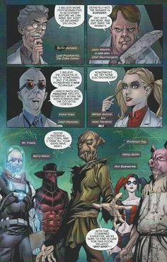 """Detective Comics #28 """"Working with Scarecrow are a ragtag group of Batman villains correlated only by their medical degrees: Harley Quinn (former psychiatrist Dr. Harleen Quintzel), Professor Pyg (surgeon Dr. Lazlo Valentine), Mr. Freeze (medical scientist Dr. Victor Fries), and Merrymaker (fallen psychiatrist Dr. Byron Meredith). """""""
