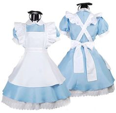 Halloween Womens Alice's Wonderland Cosplay Costumes Dress Set Apron