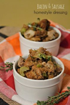 Bacon and sausage homestyle dressing recipe, a must have for Thanksgiving.