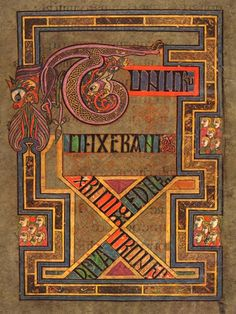From the Book of Kells (ca. 800), f. 124r: Tunc crucifixerant Xpi cum eo duos latrones (Then they crucified Christ [and] with him two thieves - Gospel of St. Matthew)