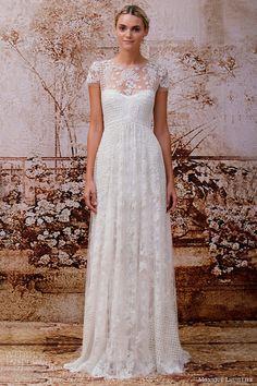 monique lhuillier bridal 2014 valentina illusion short sleeve wedding dress weddingbrand.com