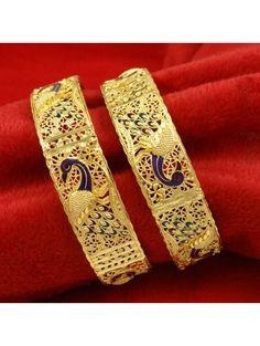 Indian Women Wedding Party Jewelry Goldplated 2PC Kada Bangle Set Bracelets 2*8