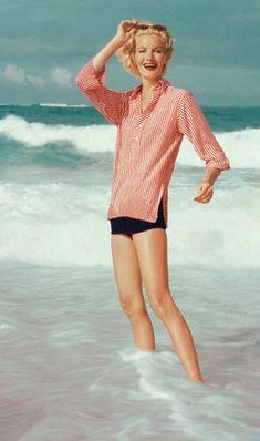 Sunny Harnett 1954, gingham tunic navy shorts