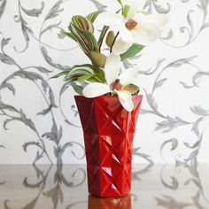 Vintage cut glass style resin vase in stunning high gloss by PIRDY, $60.00