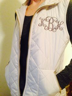 Monogrammed Women's full zip Quilted Vest, Ivory, Navy, Military Green and Coral on Etsy, $35.00