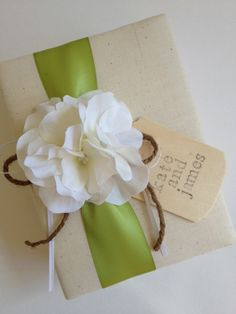 Custom Rustic Wedding Album, White Hydrangeas Apple Green Ribbon, Hand-stamped with Bride and Groom's Names - by CoutureLife