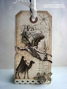 Shabby Angelic & Wise Men Tag...Tim holtz stamps - http://hellemors.blogspot.dk.