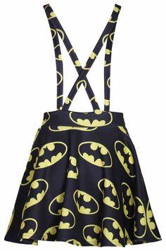 Superhero Comic Batman Suspenders Mini Skirt -features BATMAN COMIC LOGO PRINT -Material: 95% Polyester, 5% Elastane