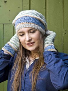 Soft Stripes Beret - Knit this accessory beret from Easy Fairisle Knits. Designed by Martin Storey using the gorgeous yarn Felted Tweed DK (wool), this slouchy beret has a variety of stripe patterns and is the perfect accompaniment to the soft stripes gloves.