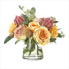 Ndi Rose Protea In Gl Pyramid Vase Silk Plants Decorating Supplies Faux Flowers