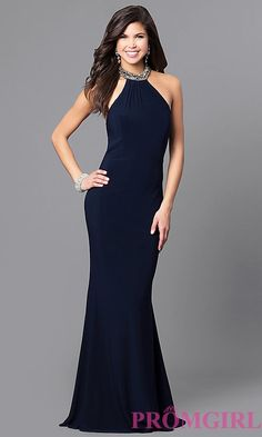 High-Neck Long Prom Dress by Alyce