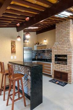 churrasqueira balcao decorada Decor, Home Upgrades, House Design, House, Kitchen Ceiling Design, Home Goods Decor, New Homes, Bedroom Decor, Built In Braai