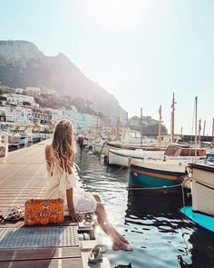 June 2017 Forecast + Mood Board >>> http://www.Pinterest.com/OracleKailo | #jetset; jet set life; luxury life; orange; orange bag; orange purse; Gucci; marina; greece
