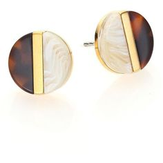 Michael Kors Colorblock Tortoiseshell-Print & Horn-Print Stud Earrings (23 KWD) ❤ liked on Polyvore featuring jewelry, earrings, apparel & accessories, horn earrings, stud earrings, tortoise shell stud earrings, tortoise stud earrings and gold tone earrings