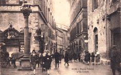 """Piazza Tolomei e l'allora """"Via Trieste"""" (Banchi di Sopra). L'anno è il 1927. Foto pubblicata da Libero Aringhieri sulla pagina facebook """"Siena"""" - https://www.facebook.com/pages/SIENA/125742815612"""