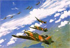 Flying Tigers (AVG). Stan Stokes Curtiss P-40C del 3er. Escuadrón de Persecución (Hell's Angels), al medio el de Matrícula 68, piloto Charles Older.  Más en www.elgrancapitan.org/foro