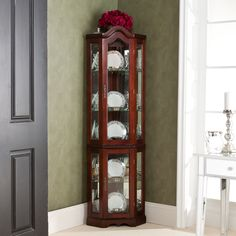 Mahogany Lighted Display Cabinet Curio Corner Unit Mirrored Glass Shelves Doors for sale online Red Barrel Studio, Display Shelves, Corner Display Cabinet, China Display, Ikea Corner Cabinet, Glass Shelves, Light Display, Venetian Mirrors, Display