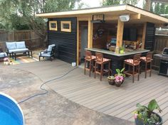 Love my new pool bar. Margarita anyone? Love my new pool bar. Margarita anyone? Backyard Bar, Backyard Sheds, Backyard Landscaping, Inexpensive Landscaping, Landscaping Ideas, Backyard Cabana, Pool House Shed, Pool Houses, Tiny House