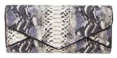 Women's Black Snakeskin Patterned Faux Leather Clutches Evening Handbags Purses