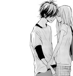 Image via We Heart It https://weheartit.com/entry/168457973/via/30390443 #anime #blackandwhite #boy #couple #girl #kiss #love #manga #smile