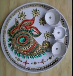 1000 images about puja thalis on pinterest home for Aarti thali decoration competition