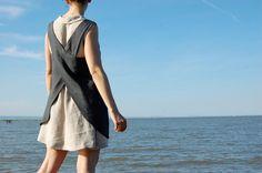 Linen Apron Dress  grey Linen Apron Dress by goodmorningmidnight