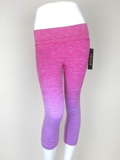 Women's Sports Fitness Vintage Cropped Capri 2 Tone Work out Legging S~L #Yelete #PantsTightsLeggings