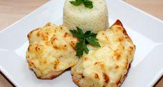 Ananászos-sajtos csirke recept | APRÓSÉF.HU - receptek képekkel Baked Potato, Mashed Potatoes, Eggs, Baking, Breakfast, Ethnic Recipes, Food, Whipped Potatoes, Bread Baking