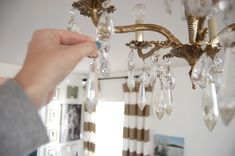 Adding bling to a chandelier using crystals Diy Chandelier, Chandeliers, Diy House Projects, Amazing Gardens, Modern Lighting, Furniture Makeover, Photoshop, Bling, Ads