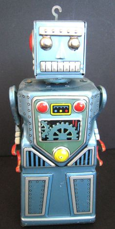 VINTAGE Painted Tin Friction ROBOT