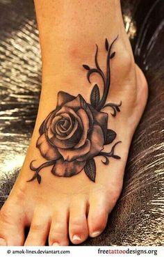 Foot tattoo rose