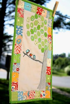 Love this! ... 3 little birds (raw edge applique), tree (1/2 inch hexagons) and the patchwork border