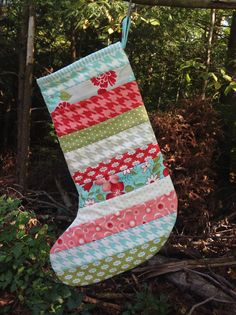Scrappy Christmas Stocking -- quilted - Bliss, Ruby, Vintage Modern, red, aqua, pink, grey