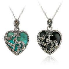 New Opulente Halskette 2 Farbe Silber überzogene Markasit Blau Türkis Herz Anhänger Halskette Metallkette Halsketten