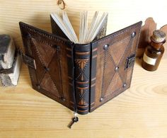 Journal with Lock and Key Brown Antiqued Leather The by TeoStudio