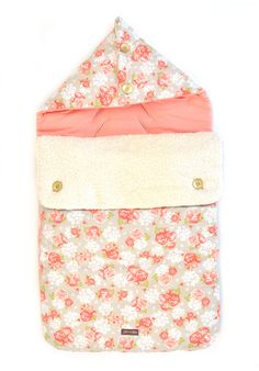 Voetenzak / Baby footmuff - Peach Poppies Organic baby Collection by Glorious Lou