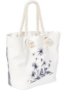 Womens Rope-Handle Canvas Totes