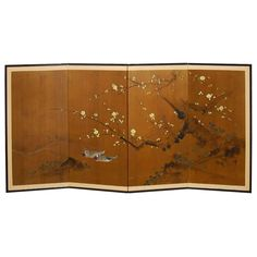 Japanese Four-Panel Screen Cherry Blossom on Gold Leaf