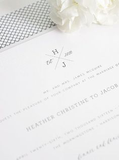 Black and white crosshatch Wedding Invitations. So simple and elegant!