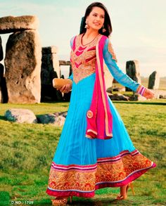 Blue and pink anarkali suit with golden embroidered yoke   1. Blue net embroidered anarkali suit 2. Golden embroidered floral pattern on yoke and sleeves 3. Golden patch embroidered border 4. Comes with matching shantoon bottom and dupatta